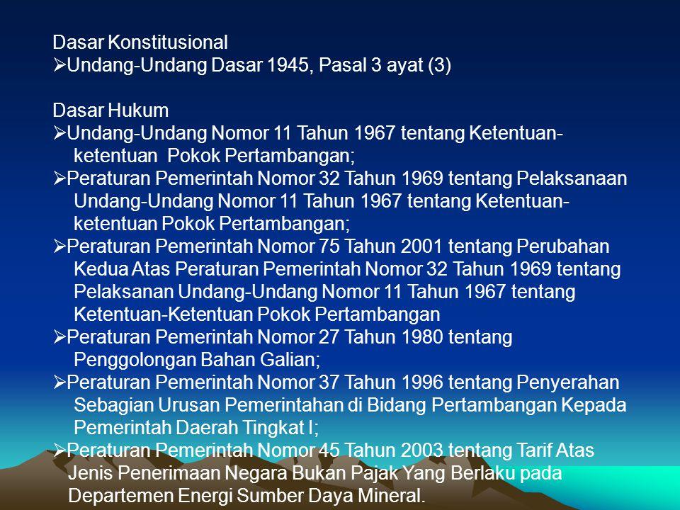 Dasar Konstitusional  Undang-Undang Dasar 1945, Pasal 3 ayat (3) Dasar Hukum  Undang-Undang Nomor 11 Tahun 1967 tentang Ketentuan- ketentuan Pokok P