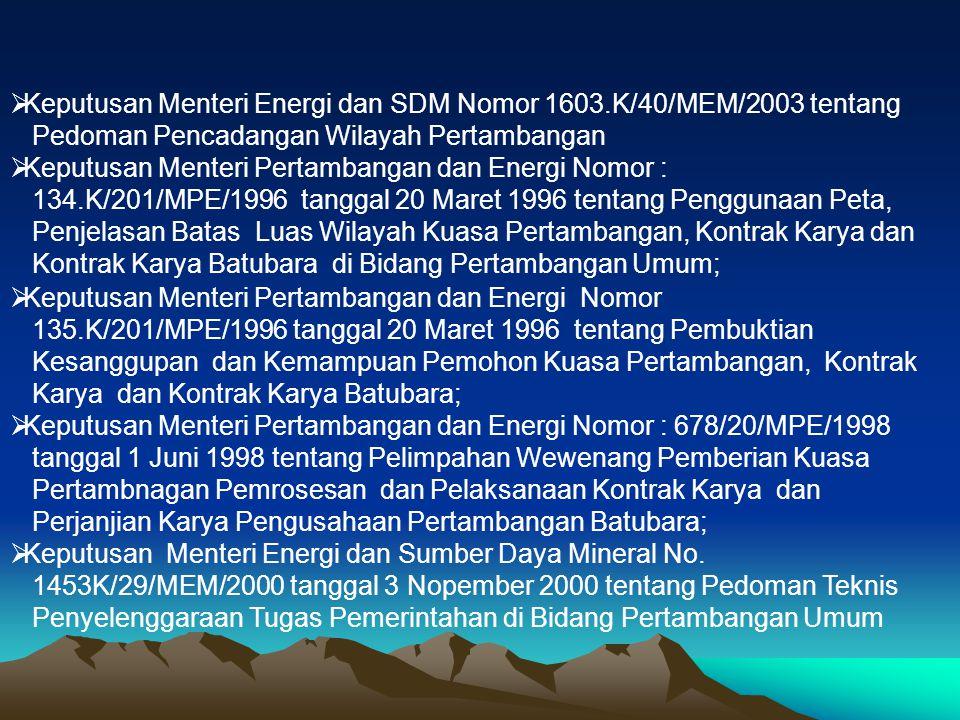  Keputusan Menteri Energi dan SDM Nomor 1603.K/40/MEM/2003 tentang Pedoman Pencadangan Wilayah Pertambangan  Keputusan Menteri Pertambangan dan Ener