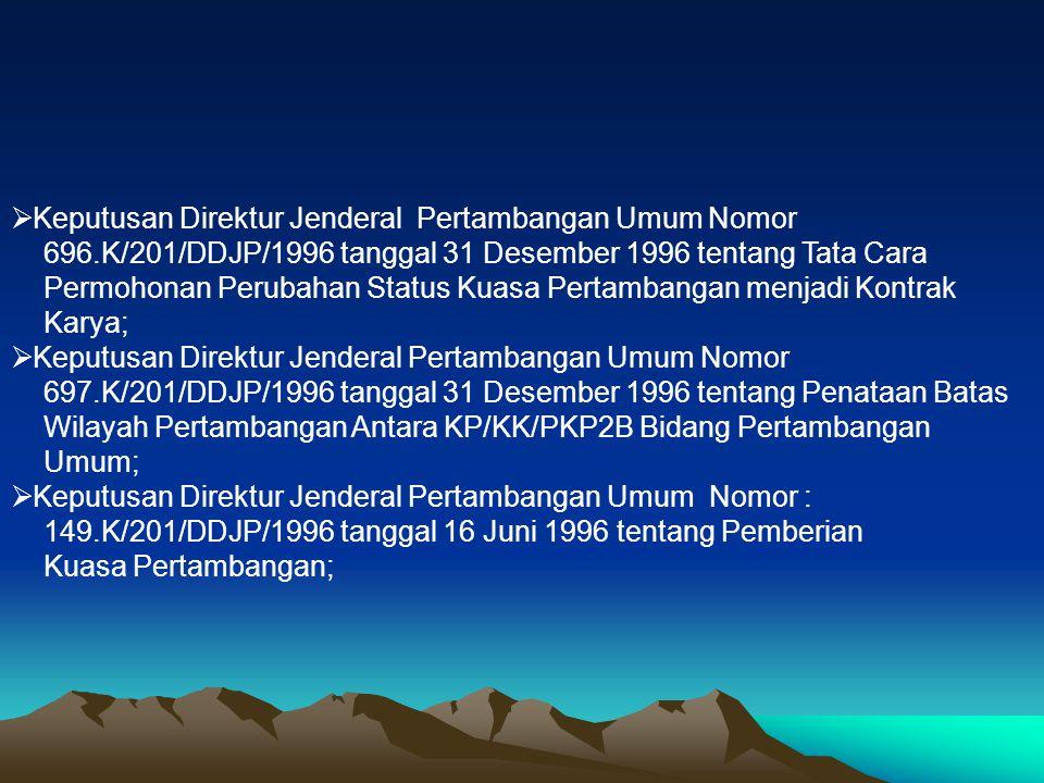 Keputusan Direktur Jenderal Pertambangan Umum Nomor 696.K/201/DDJP/1996 tanggal 31 Desember 1996 tentang Tata Cara Permohonan Perubahan Status Kuasa