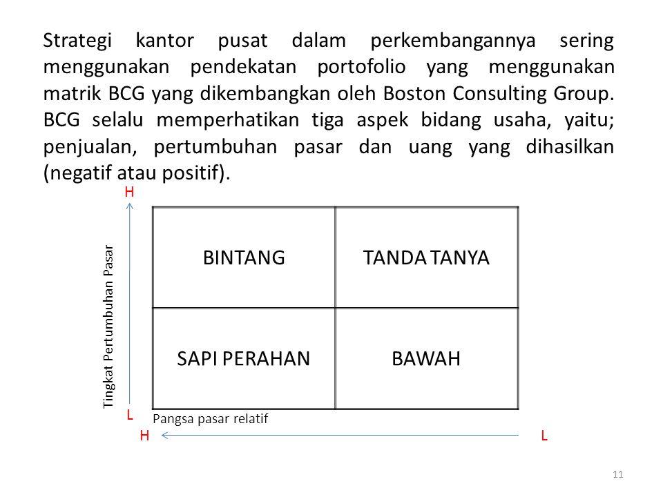 11 Strategi kantor pusat dalam perkembangannya sering menggunakan pendekatan portofolio yang menggunakan matrik BCG yang dikembangkan oleh Boston Consulting Group.