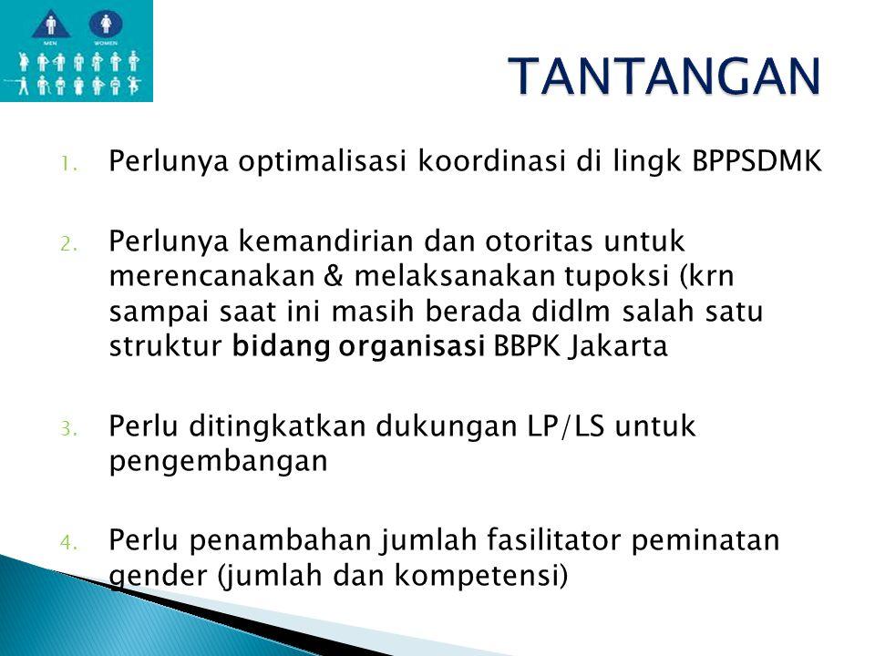 1. Perlunya optimalisasi koordinasi di lingk BPPSDMK 2. Perlunya kemandirian dan otoritas untuk merencanakan & melaksanakan tupoksi (krn sampai saat i