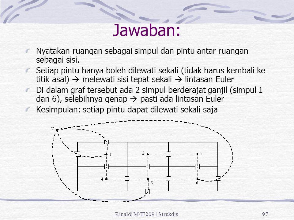 Rinaldi M/IF2091 Strukdis97 Jawaban: Nyatakan ruangan sebagai simpul dan pintu antar ruangan sebagai sisi. Setiap pintu hanya boleh dilewati sekali (t