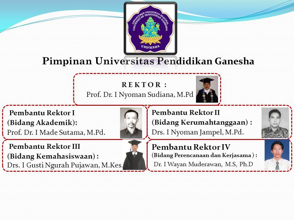 Pembantu Rektor I (Bidang Akademik): Prof. Dr. I Made Sutama, M.Pd. Pembantu Rektor II (Bidang Kerumahtanggaan) : Drs. I Nyoman Jampel, M.Pd. Pembantu