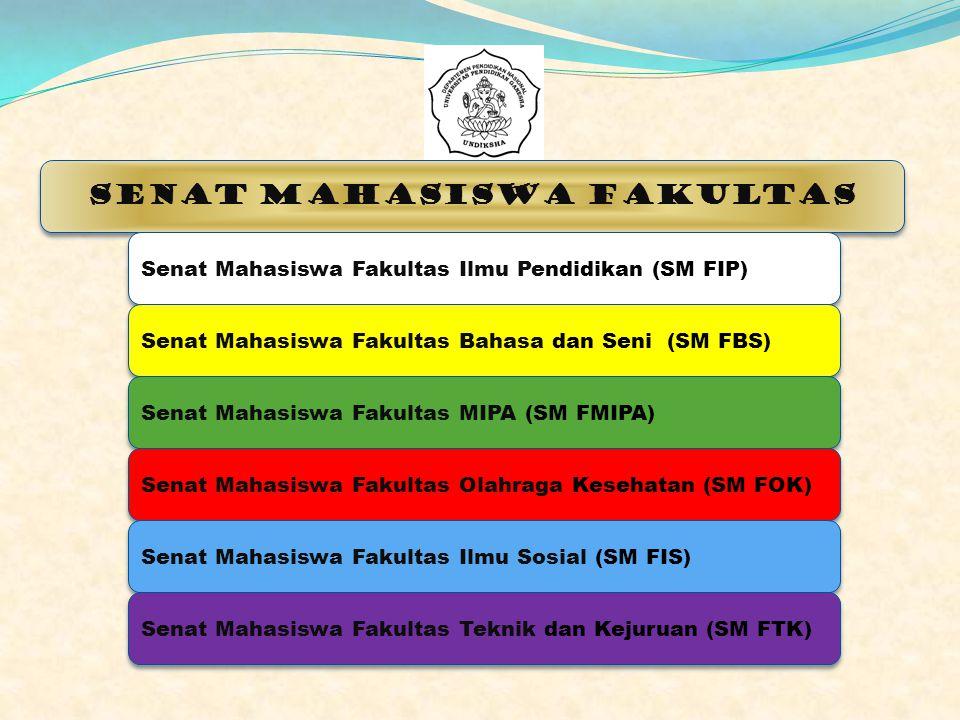 Senat Mahasiswa Fakultas Senat Mahasiswa Fakultas Ilmu Pendidikan (SM FIP) Senat Mahasiswa Fakultas Bahasa dan Seni (SM FBS) Senat Mahasiswa Fakultas