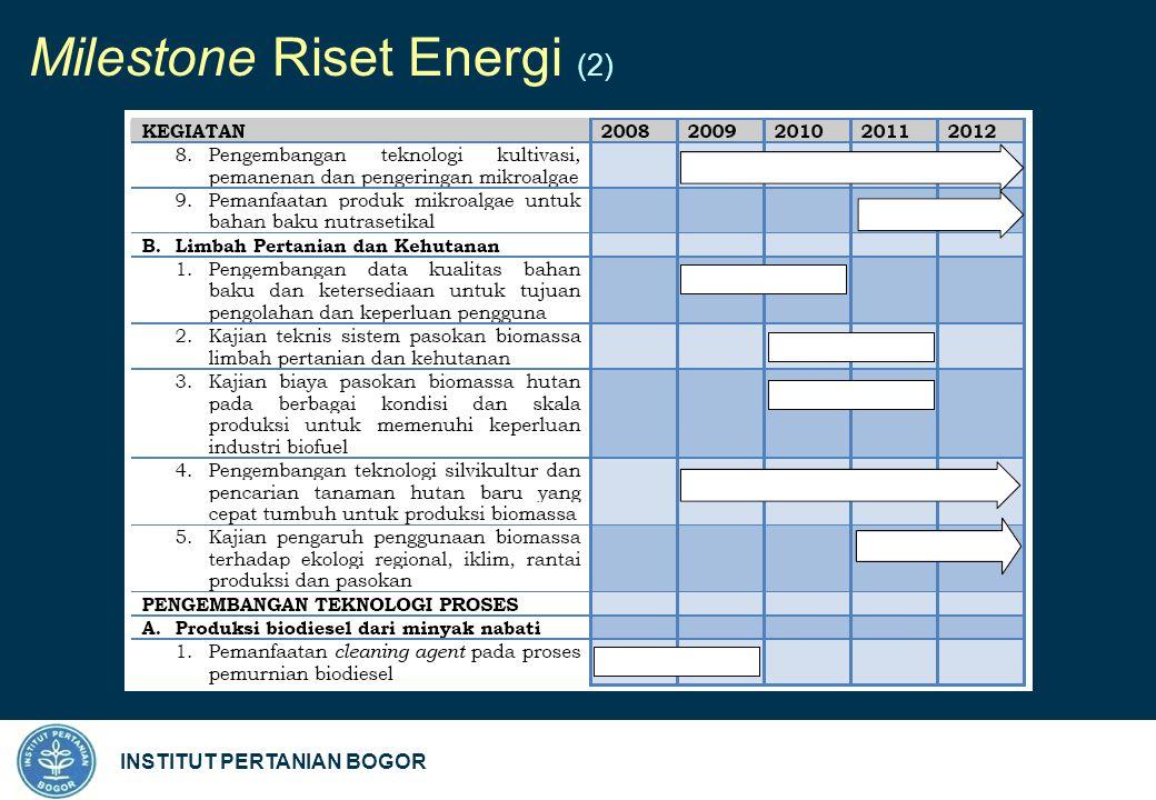 INSTITUT PERTANIAN BOGOR Milestone Riset Energi (2)
