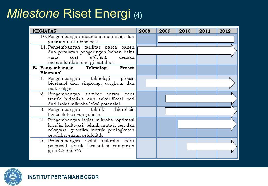 INSTITUT PERTANIAN BOGOR Milestone Riset Energi (4)