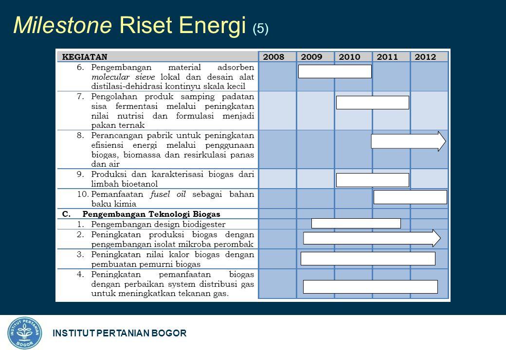 INSTITUT PERTANIAN BOGOR Milestone Riset Energi (5)