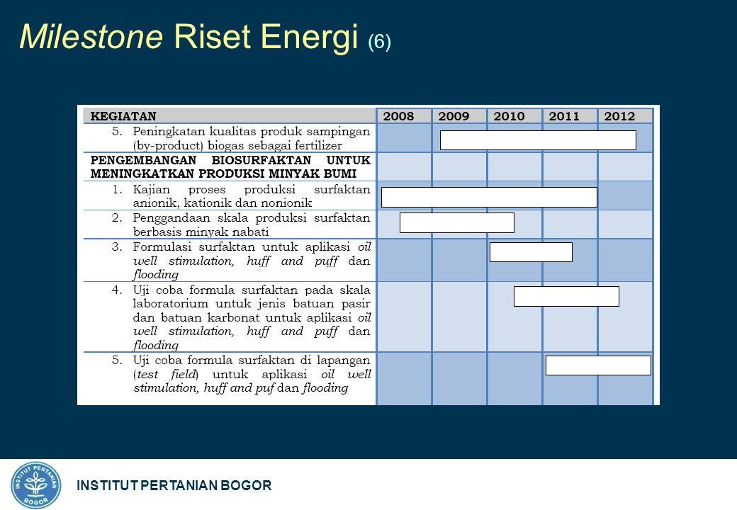 INSTITUT PERTANIAN BOGOR Milestone Riset Energi (6)
