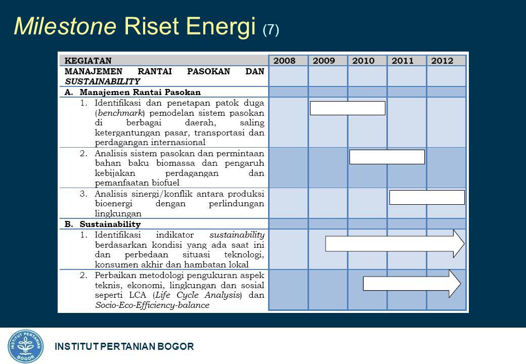 INSTITUT PERTANIAN BOGOR Milestone Riset Energi (7)