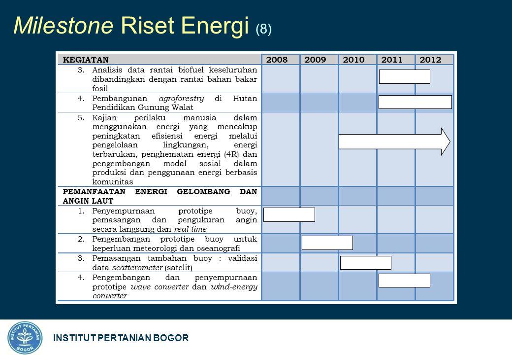 INSTITUT PERTANIAN BOGOR Milestone Riset Energi (8)