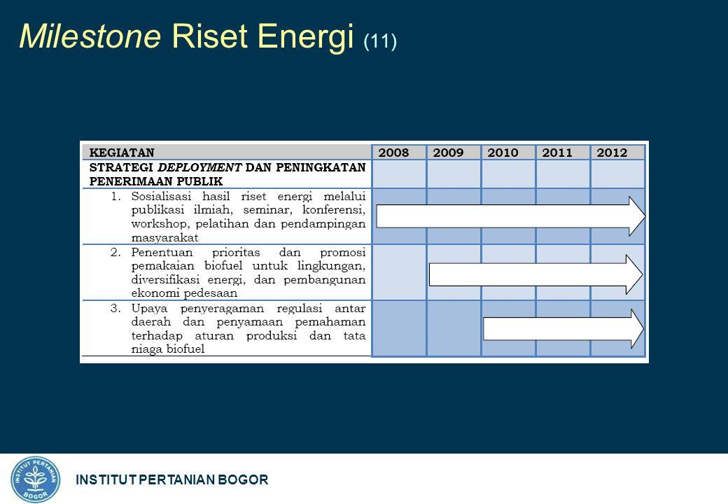 INSTITUT PERTANIAN BOGOR Milestone Riset Energi (11)