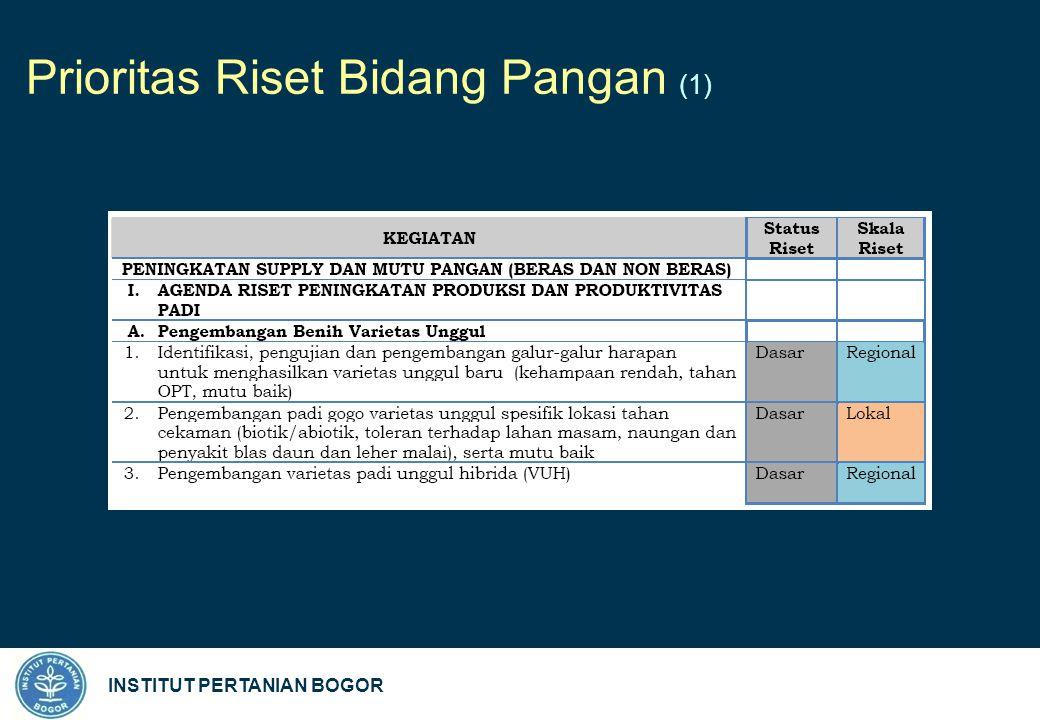 INSTITUT PERTANIAN BOGOR Prioritas Riset Bidang Pangan (1)