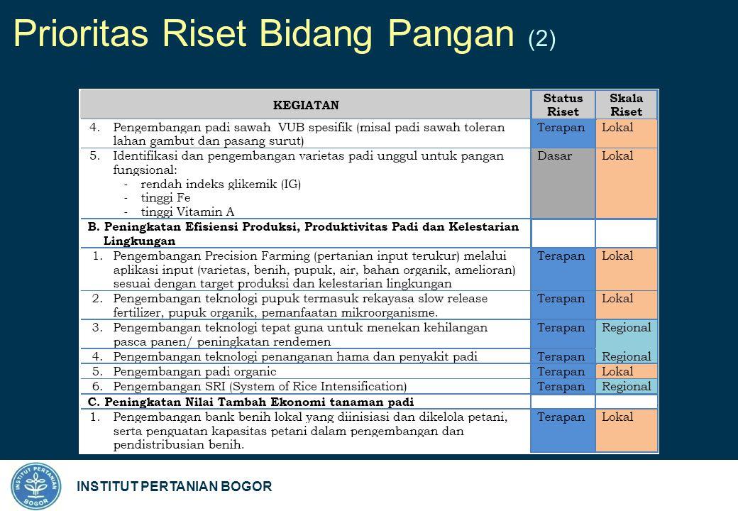 INSTITUT PERTANIAN BOGOR Prioritas Riset Bidang Pangan (2)