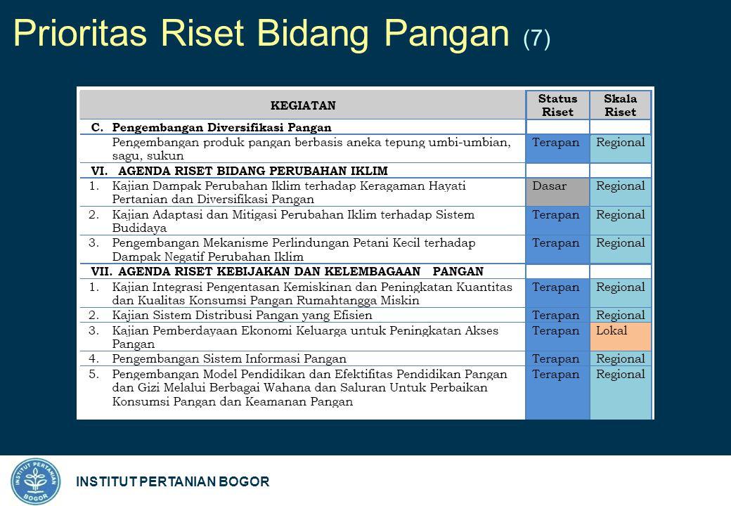INSTITUT PERTANIAN BOGOR Prioritas Riset Bidang Pangan (7)