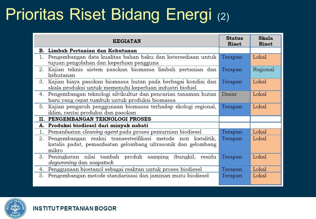 INSTITUT PERTANIAN BOGOR Prioritas Riset Bidang Energi (2)