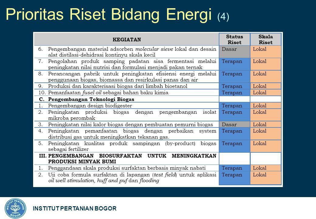 INSTITUT PERTANIAN BOGOR Prioritas Riset Bidang Energi (4)