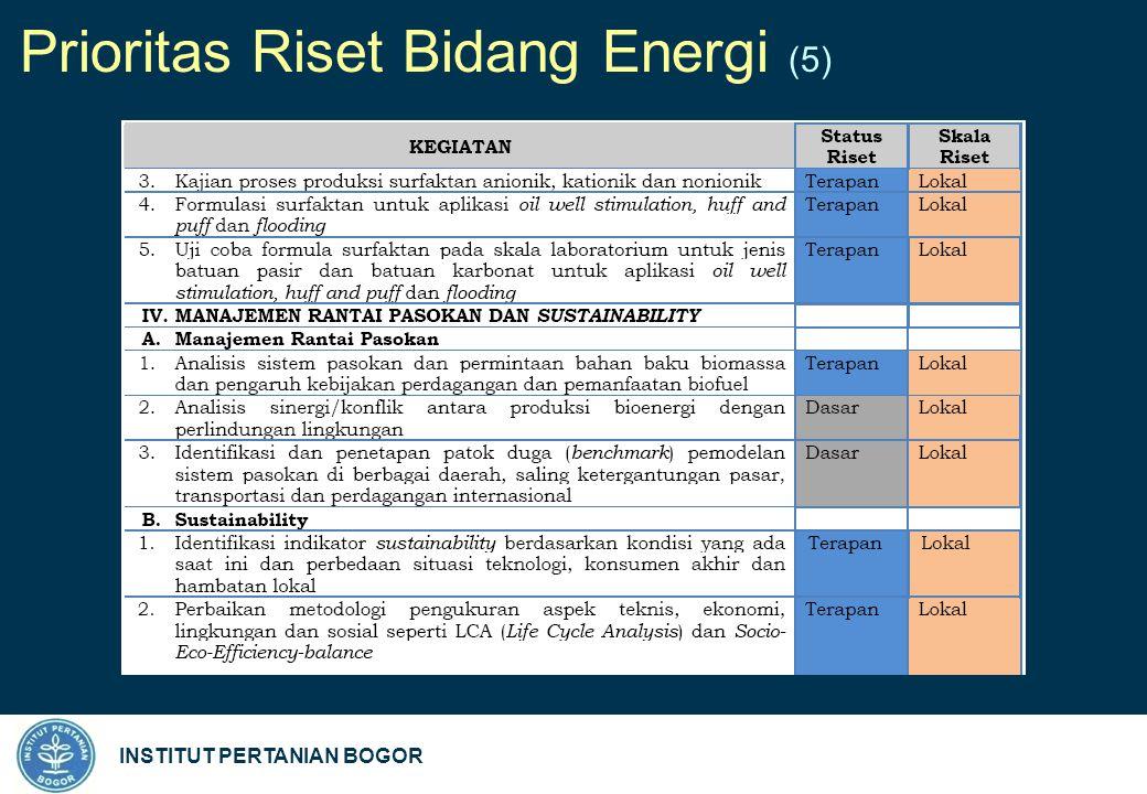 INSTITUT PERTANIAN BOGOR Prioritas Riset Bidang Energi (5)
