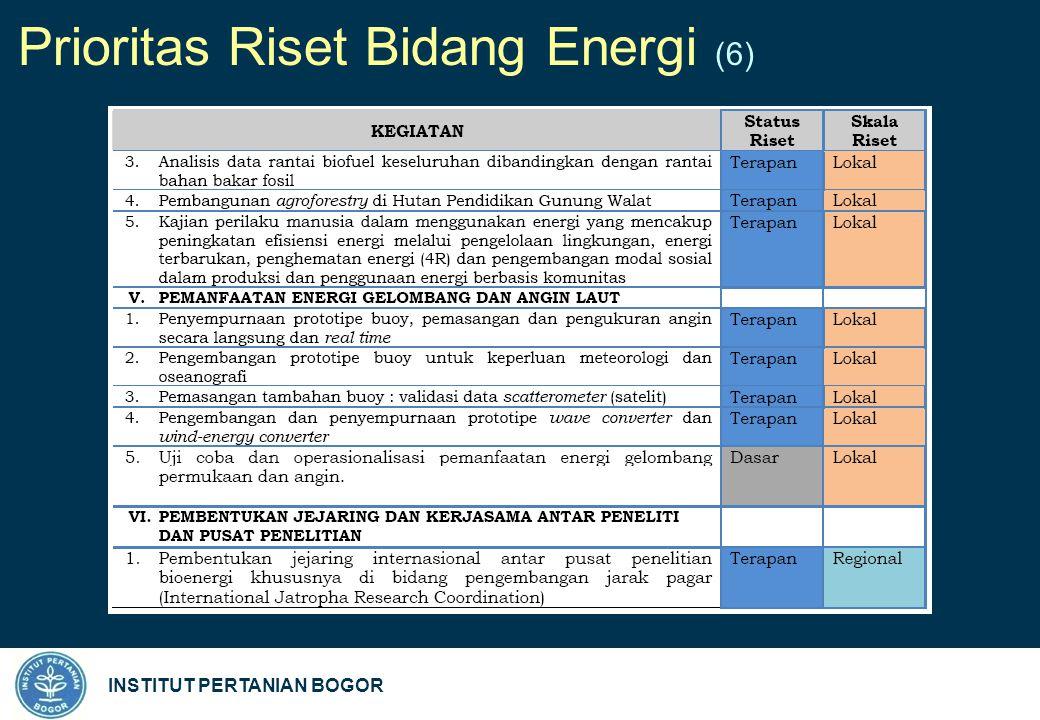 INSTITUT PERTANIAN BOGOR Prioritas Riset Bidang Energi (6)