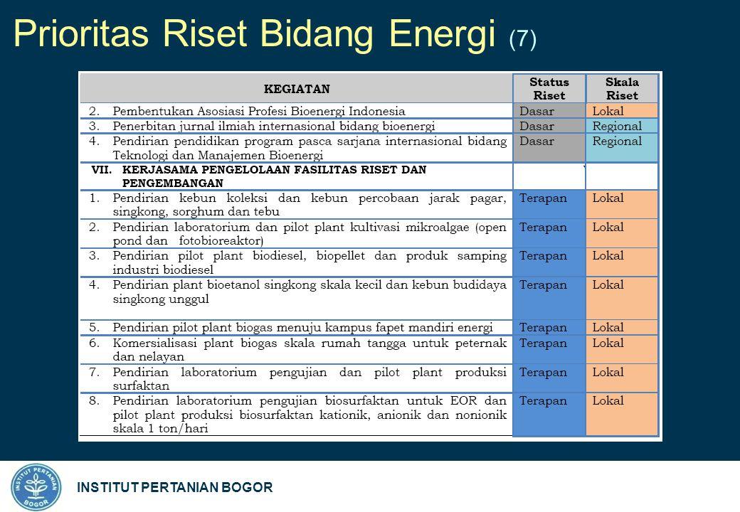 INSTITUT PERTANIAN BOGOR Prioritas Riset Bidang Energi (7)