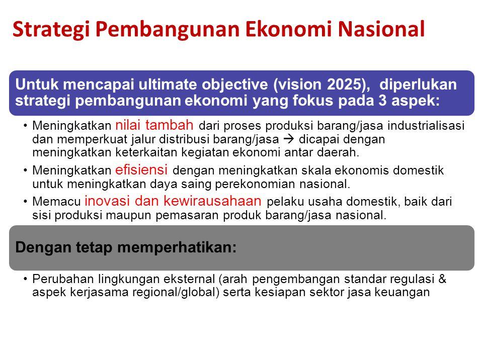18 Strategi Pembangunan Ekonomi Nasional Untuk mencapai ultimate objective (vision 2025), diperlukan strategi pembangunan ekonomi yang fokus pada 3 aspek: Meningkatkan nilai tambah dari proses produksi barang/jasa industrialisasi dan memperkuat jalur distribusi barang/jasa  dicapai dengan meningkatkan keterkaitan kegiatan ekonomi antar daerah.
