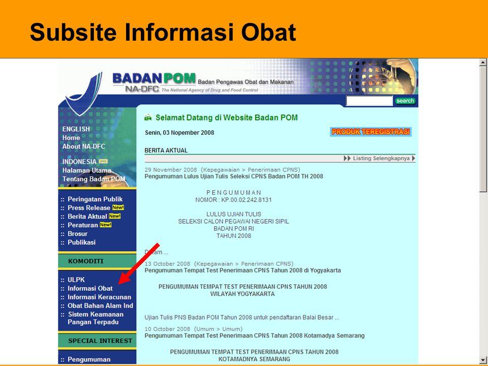 Subsite Informasi Obat