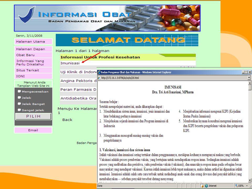 Menu: Informasi yang Perlu Diketahui Berisi informasi yang diangggap penting untuk diketahui oleh seorang profesi kesehatan dan juga untuk masyarakat