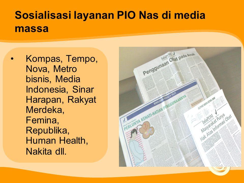 Sosialisasi layanan PIO Nas di media massa Kompas, Tempo, Nova, Metro bisnis, Media Indonesia, Sinar Harapan, Rakyat Merdeka, Femina, Republika, Human Health, Nakita dll.