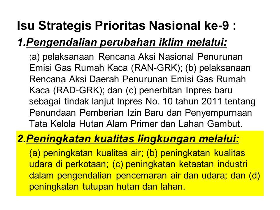 Isu Strategis Prioritas Nasional ke-9 : 1.Pengendalian perubahan iklim melalui: ( a) pelaksanaan Rencana Aksi Nasional Penurunan Emisi Gas Rumah Kaca