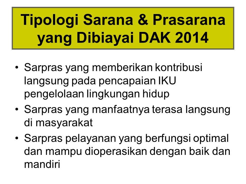 Tipologi Sarana & Prasarana yang Dibiayai DAK 2014 Sarpras yang memberikan kontribusi langsung pada pencapaian IKU pengelolaan lingkungan hidup Sarpra