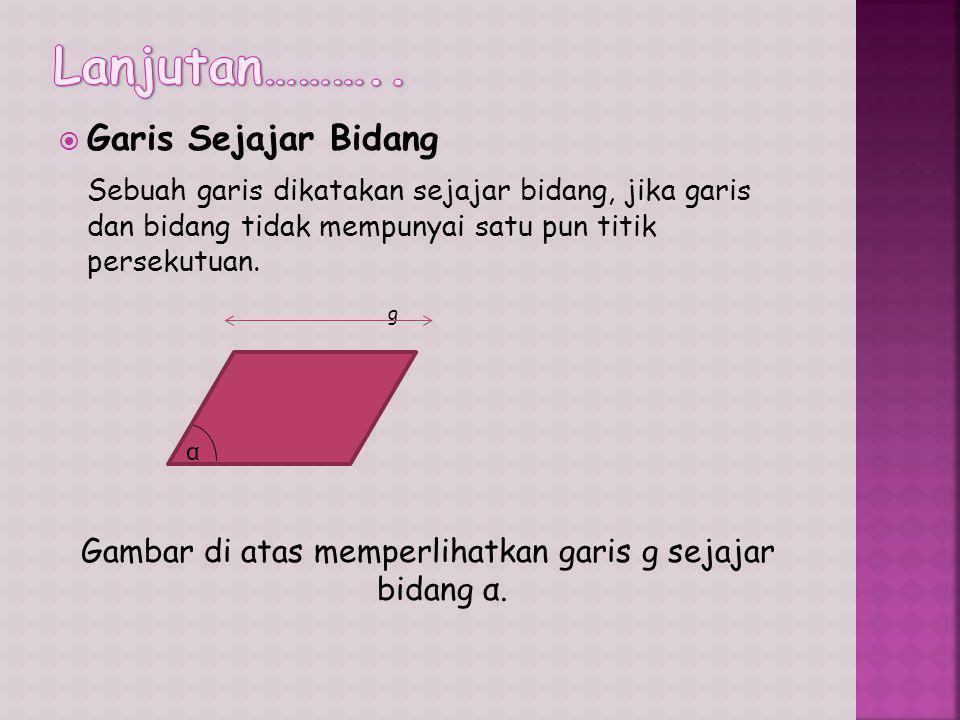  Garis Sejajar Bidang Sebuah garis dikatakan sejajar bidang, jika garis dan bidang tidak mempunyai satu pun titik persekutuan.