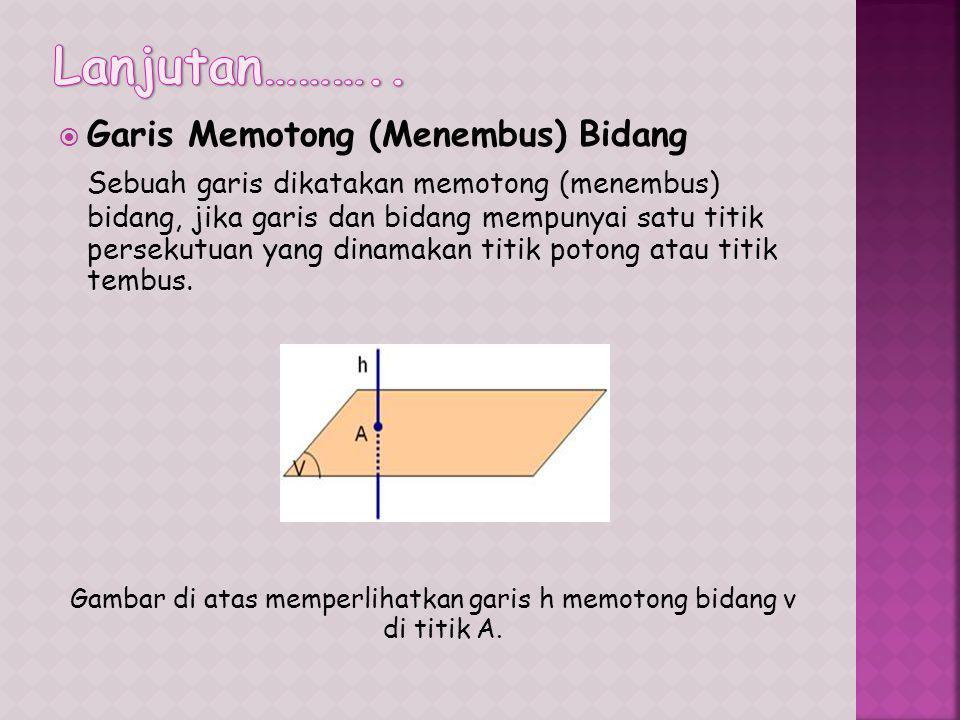  Garis Memotong (Menembus) Bidang Sebuah garis dikatakan memotong (menembus) bidang, jika garis dan bidang mempunyai satu titik persekutuan yang dinamakan titik potong atau titik tembus.