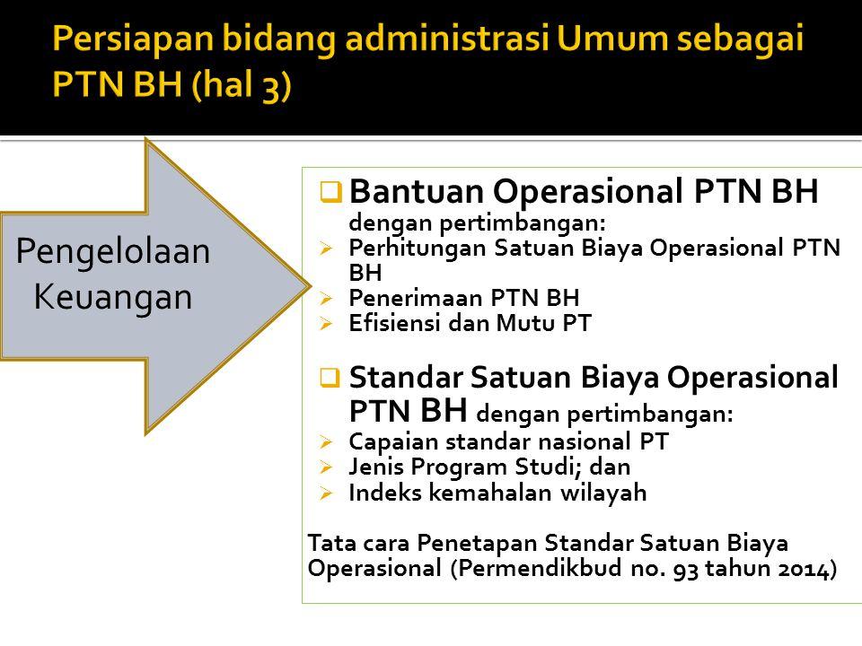  Bantuan Operasional PTN BH dengan pertimbangan:  Perhitungan Satuan Biaya Operasional PTN BH  Penerimaan PTN BH  Efisiensi dan Mutu PT  Standar