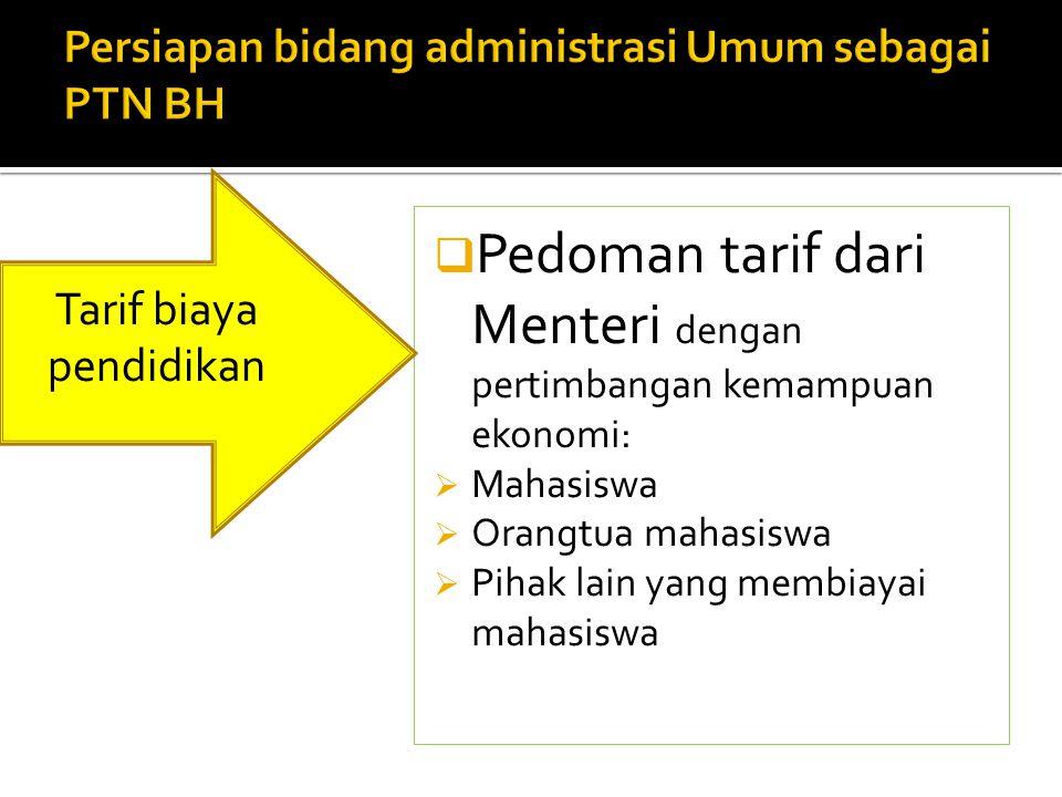  Pedoman tarif dari Menteri dengan pertimbangan kemampuan ekonomi:  Mahasiswa  Orangtua mahasiswa  Pihak lain yang membiayai mahasiswa Tarif biaya