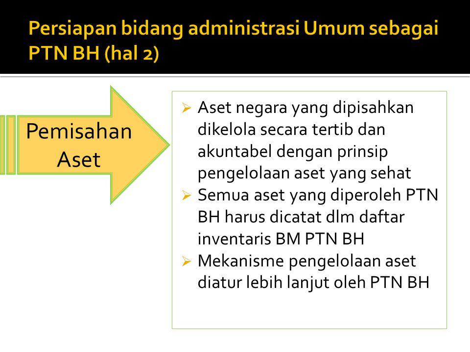  Aset negara yang dipisahkan dikelola secara tertib dan akuntabel dengan prinsip pengelolaan aset yang sehat  Semua aset yang diperoleh PTN BH harus