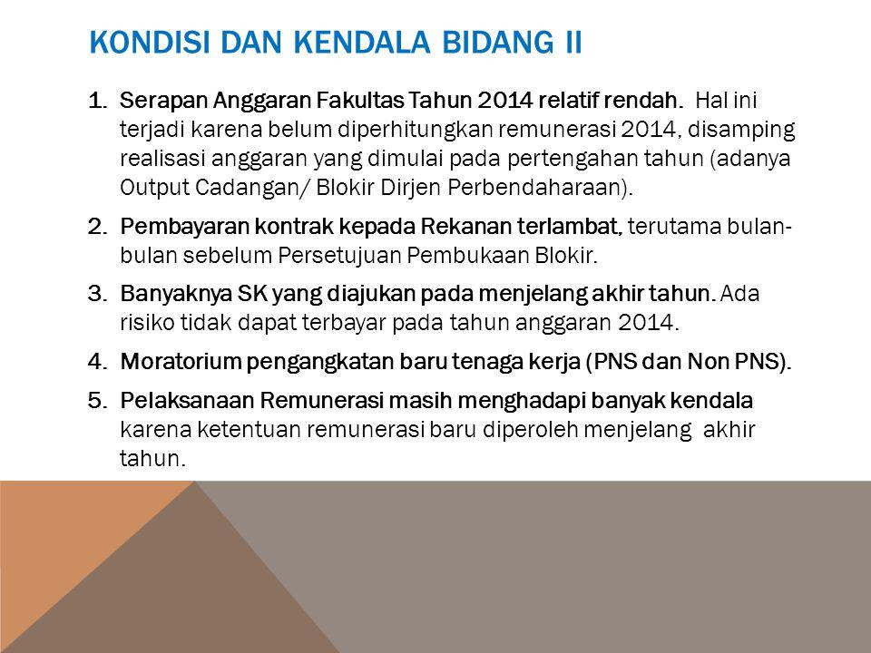 KONDISI DAN KENDALA BIDANG II 1.Serapan Anggaran Fakultas Tahun 2014 relatif rendah. Hal ini terjadi karena belum diperhitungkan remunerasi 2014, disa
