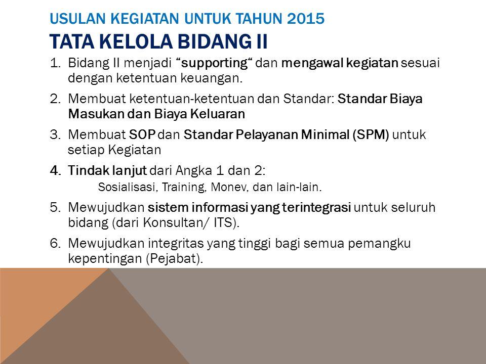 USULAN KEGIATAN UNTUK TAHUN 2015 TATA KELOLA BIDANG II 1.Bidang II menjadi supporting dan mengawal kegiatan sesuai dengan ketentuan keuangan.