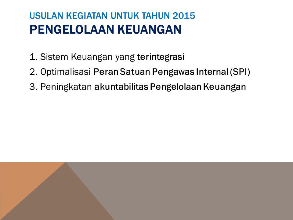 USULAN KEGIATAN UNTUK TAHUN 2015 PENGELOLAAN KEUANGAN 1.Sistem Keuangan yang terintegrasi 2.Optimalisasi Peran Satuan Pengawas Internal (SPI) 3.Pening