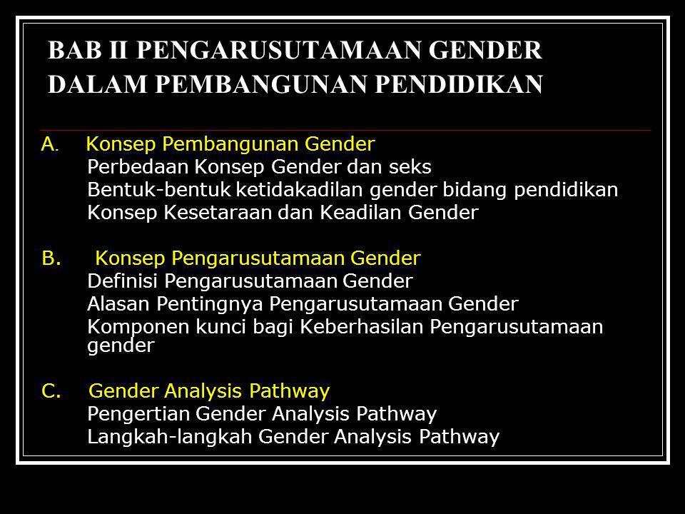  Munculnya kesamaan persepsi tentang permasalahan gender yang terjadi pada semua jenjang dan jalur pendidikan  Tumbuh dan berkembangnya sensitivitas