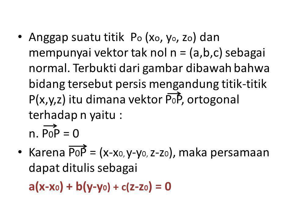 Anggap suatu titik P o (x o, y o, z o ) dan mempunyai vektor tak nol n = (a,b,c) sebagai normal. Terbukti dari gambar dibawah bahwa bidang tersebut pe
