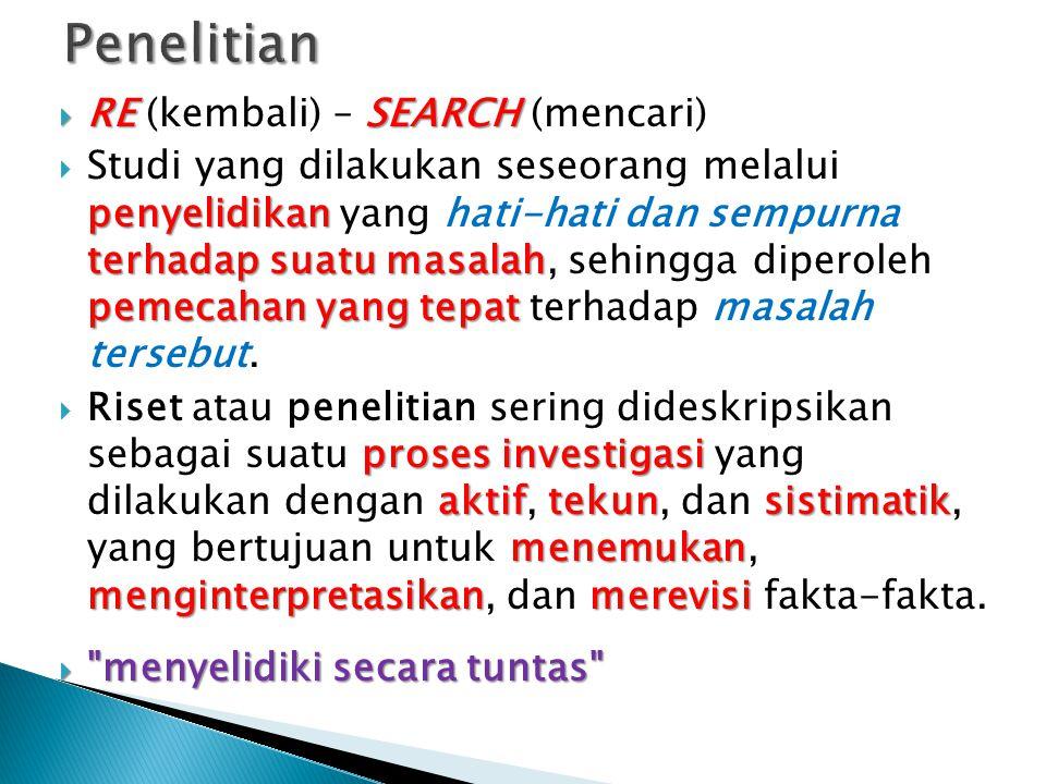  RE SEARCH  RE (kembali) – SEARCH (mencari) penyelidikan terhadap suatu masalah pemecahan yang tepat  Studi yang dilakukan seseorang melalui penyelidikan yang hati-hati dan sempurna terhadap suatu masalah, sehingga diperoleh pemecahan yang tepat terhadap masalah tersebut.