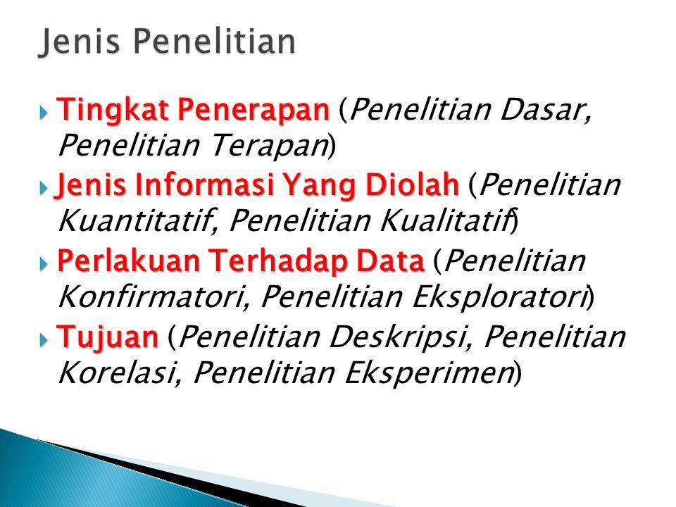  Tingkat Penerapan  Tingkat Penerapan (Penelitian Dasar, Penelitian Terapan)  Jenis Informasi Yang Diolah  Jenis Informasi Yang Diolah (Penelitian Kuantitatif, Penelitian Kualitatif)  Perlakuan Terhadap Data  Perlakuan Terhadap Data (Penelitian Konfirmatori, Penelitian Eksploratori)  Tujuan  Tujuan (Penelitian Deskripsi, Penelitian Korelasi, Penelitian Eksperimen)