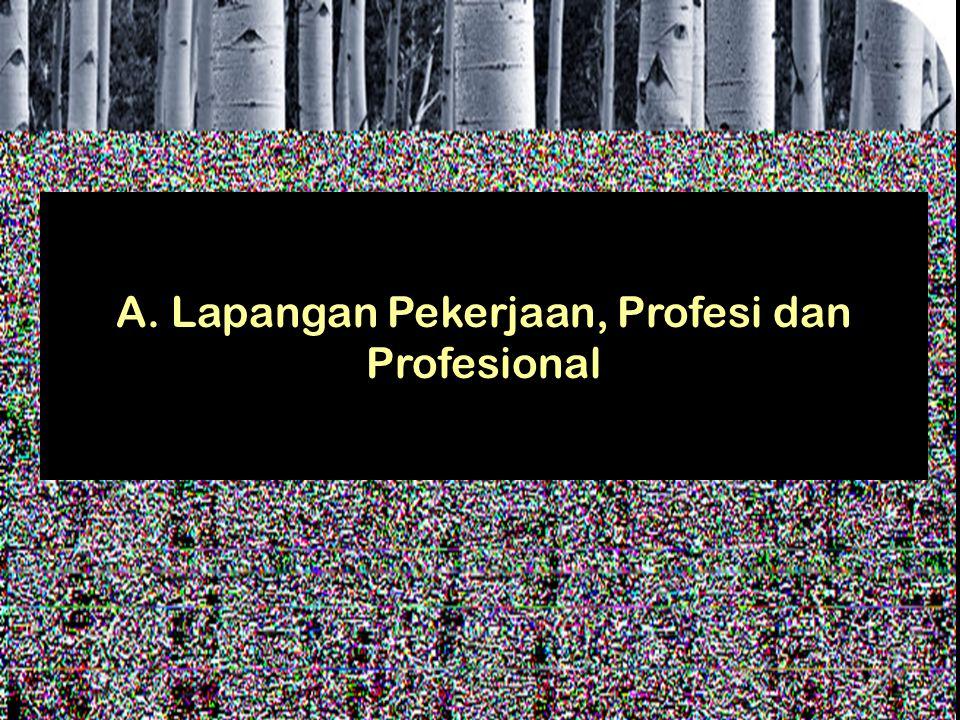 A. Lapangan Pekerjaan, Profesi dan Profesional