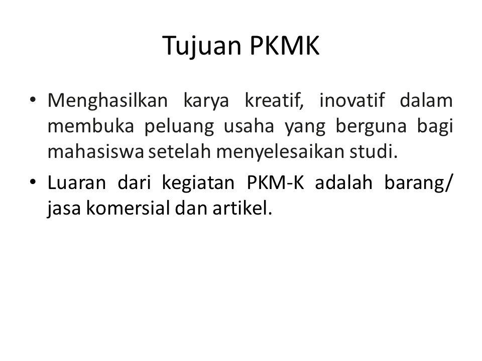 Tujuan PKMK Menghasilkan karya kreatif, inovatif dalam membuka peluang usaha yang berguna bagi mahasiswa setelah menyelesaikan studi. Luaran dari kegi
