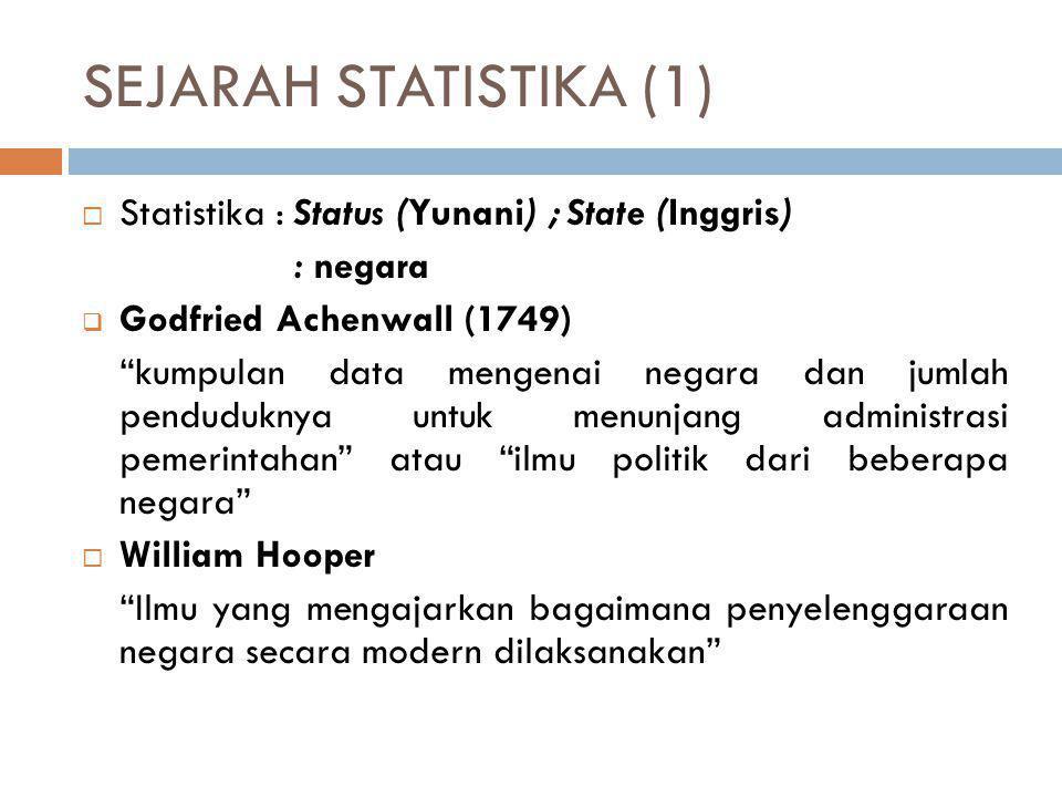"SEJARAH STATISTIKA (1)  Statistika : Status (Yunani) ; State (Inggris) : negara  Godfried Achenwall (1749) ""kumpulan data mengenai negara dan jumlah"