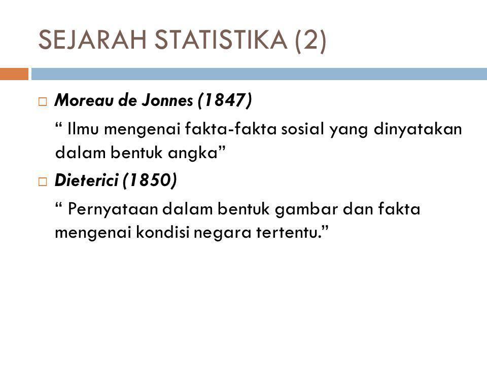 """SEJARAH STATISTIKA (2)  Moreau de Jonnes (1847) """" Ilmu mengenai fakta-fakta sosial yang dinyatakan dalam bentuk angka""""  Dieterici (1850) """" Pernyataa"""