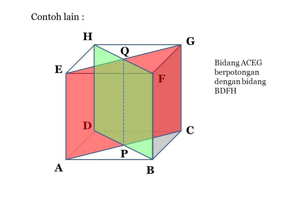 b. Saling berpotongan A F E D C B H G Bidang ABCD berpotongan dengan bidang BDFH