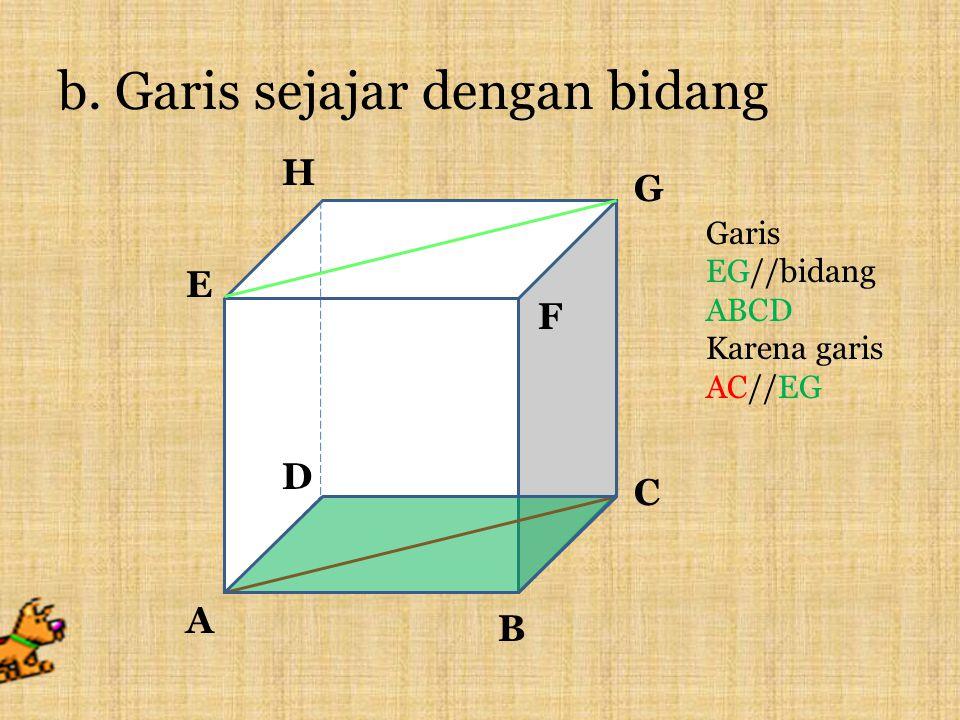 2. Kedudukan garis dan bidang dalam ruang a.