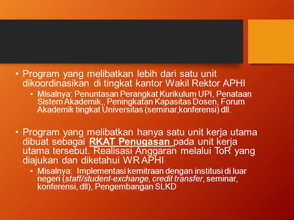 Program yang melibatkan lebih dari satu unit dikoordinasikan di tingkat kantor Wakil Rektor APHI Misalnya: Penuntasan Perangkat Kurikulum UPI, Penataa
