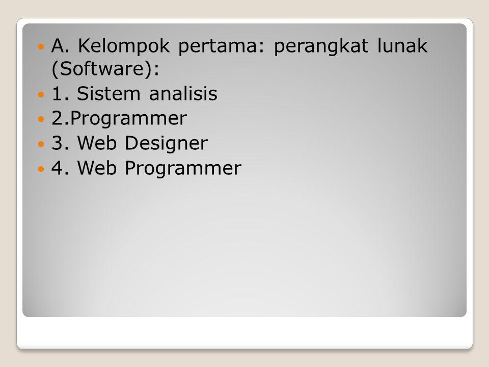 A.Kelompok pertama: perangkat lunak (Software): 1.