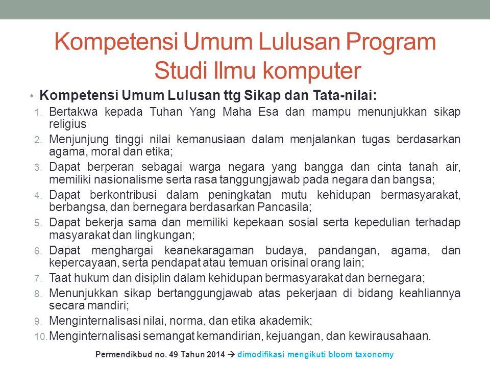 Kompetensi Umum Lulusan Program Studi Ilmu komputer Kompetensi Umum Lulusan ttg Sikap dan Tata-nilai: 1.
